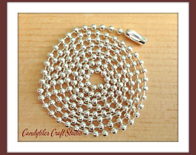50pc...2.4mm High Quality Silver Ball Chains. Great for pendants, Cabochons, Scrabble and Glass Tiles.