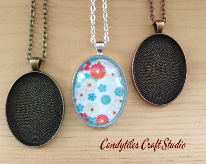 25pc..DIY Oval Pendant Tray Necklace Kit...30x40mm...includes chains, glass tiles,  trays..Mix and Match color trays.