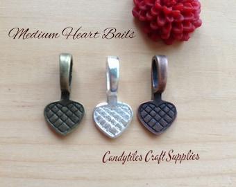50pc...Medium Vintage Style Heart Bails...Choose your Color...Glass Tiles, pendant bails...
