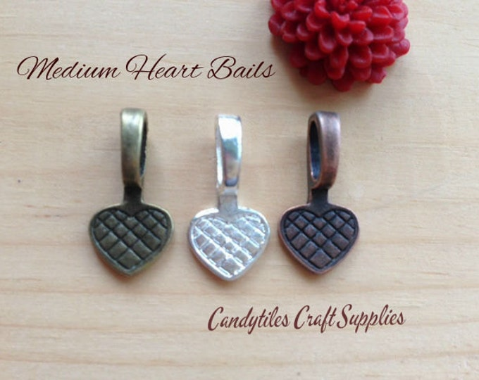 10pc...Medium Vintage Style Heart Bails...Choose your Color...Glass Tiles, pendant bails...