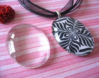 20pk...Oval Glass Tiles Cabochons...30mm x 40mm...Great for pendants and Mosaic art