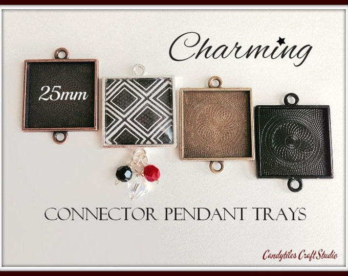 5pk...25mm Connector Square Pendant Trays....MIX and MATCH..Bezel Trays, Pendant Settings...SPT