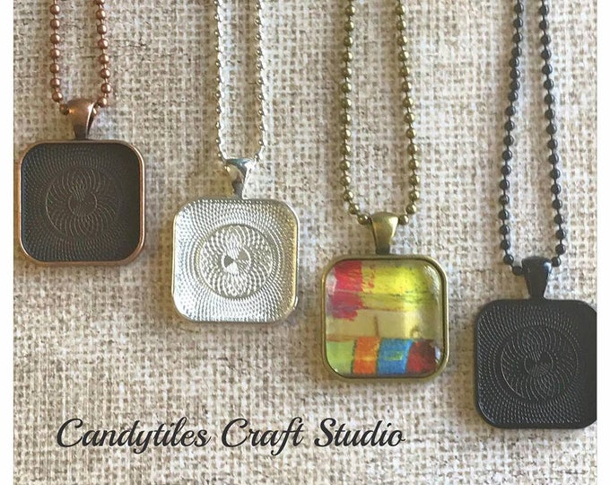 DIY Necklace Kit...Make 10 necklaces ...25mm Round Corner Pendant Trays....with glass inserts and chains...bezel, pendant trays