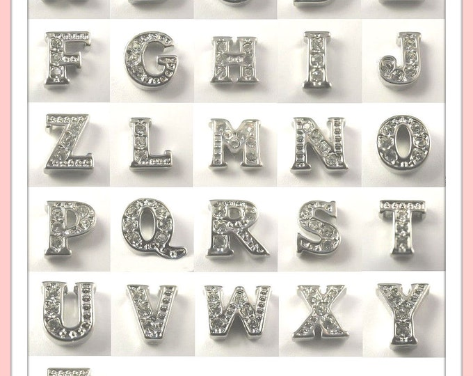 Choose (5)...Rhinestone Crystal Alphabet Charms for Locket of Memories TM, Living Locket, Memory Locket, Floating Glass Locket,