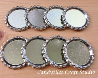 100pc..Flattened Chrome Bottle Caps...With Hole...Comes with Split Rings...Great for Magnets and Necklaces