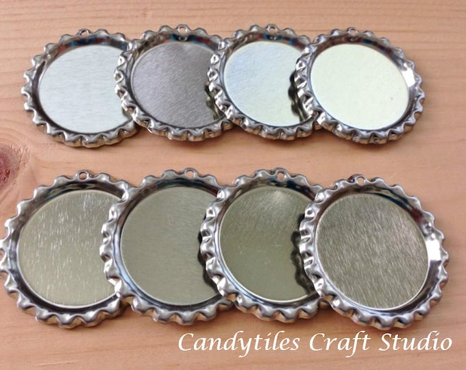 25pc..Flattened Chrome Bottle Caps...With Hole...Comes with Split Rings...Great for Magnets and Necklaces