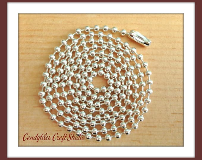50pc...2.4mm Silver Ball Chains. Great for pendants, Cabochons, Scrabble and Glass Tiles.
