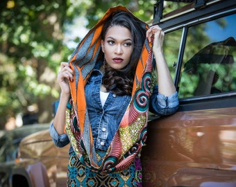 African print reversible infinty scarf