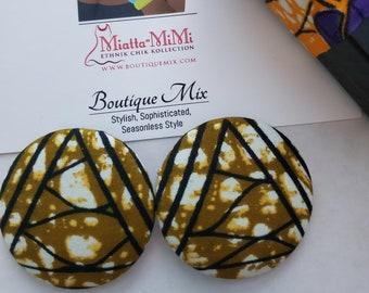 Brown Button Earrings, Brown Fabric Earrings, African Print Earrings, Fabric Button Earrings, African Earrings, African Fabric Earrings