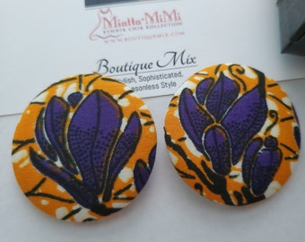 Orange Fabric Earrings, African Fabric Earrings, African Print Earrings, Fabric Button Earrings, African Button Earrings, Button Earrings,