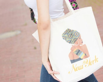 Tote bag, New York tote bag, Beach tote, Canvas tote bag, Beach bag, Totes, Gift for her, Market tote, Grocery bag, African tote bag, Africa