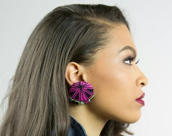 Pink and black fabric button earrings, Valentines gift ideas for women, Green earrings, Pink earrings, Pink and green button earrings, Gifts