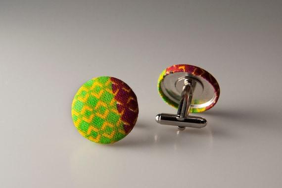 African Kente fabric cufflinks gifts for groom and groomsmen