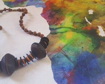 African bead necklace, Beaded necklace, Coconut bead necklace, African necklace, Bead necklace, African jewelry, Africa necklace, Beads