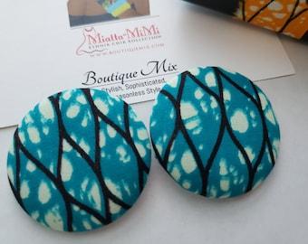 Blue Button Earrings, Blue Fabric Earrings, African Print Earrings, Fabric Button Earrings, African Earrings, African Fabric Earrings, Blue