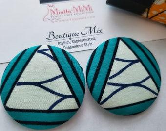 Blue Fabric Earrings, Blue Button Earrings, African Print Earrings, Fabric Button Earrings, African Earrings, African Fabric Earrings, Blue