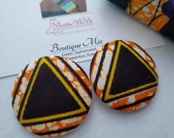 Brown Fabric Earrings, Brown Button Earrings, African Print Earrings, Fabric Button Earrings, African Earrings, African Fabric Earrings