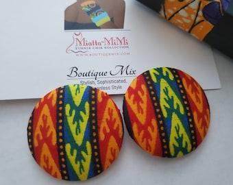 Print Earrings, African Print Fabric Earrings, African Fabric Earrings, Fabric Button Earrings, African Button Earrings, Button Earrings,
