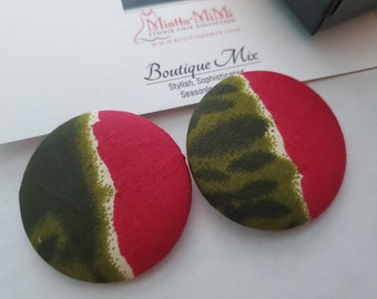 Pink and Green Earrings, African Fabric Earrings, African Print Earrings, Fabric Button Earrings, African Button Earrings, Button Earrings,