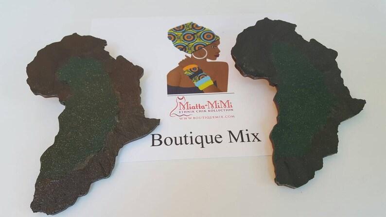 Laser cut wood map of Africa earrings