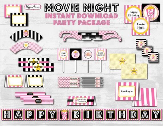 pink black movie night party birthday standard printable etsy