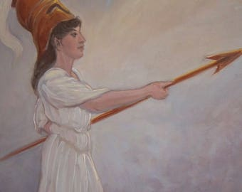 Athena in the Light - oil painting on masonite panel