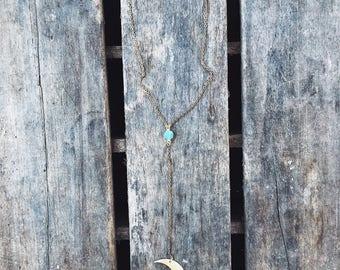 Moon Tassel Lariat Y Necklace
