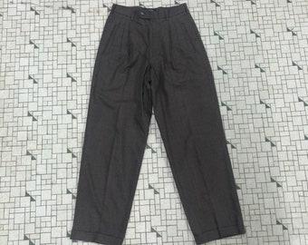 Retro Office Geek Chic Uk Size 6 Formal Elegant Cute Preppy VINTAGE 1980/'s 1990/'s Black Slinky HIGH WAIST Petite Pleated Trousers