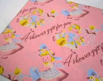 vintage 1960s baby shower wrapping paper pink blue etsy