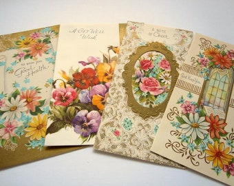 Old greeting cards etsy vintage embossed frilly flowers floral gold gilded greeting cards lot m4hsunfo