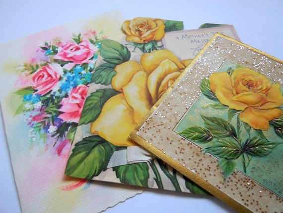 Vintage Die Cut Glittered Yellow Roses Floral Flower Greeting Cards Lot