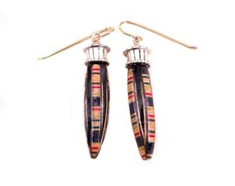 Ebony and wood Italian inlay drop earrings, marquetry & silver dangle earrings