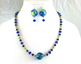 Hand BLOWN GLASS Blue, Green, Black Crystal Earrings and Necklace OOAK