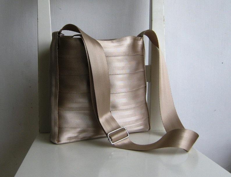 Pearl Cream Beige Seat Belt Messenger