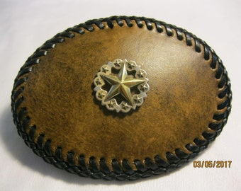 Leather Belt Buckle with Scalloped Star Concho