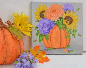 Pumpkin Orange Fall Decor  autum harvest  original art  fall decorating fall flowers home decor