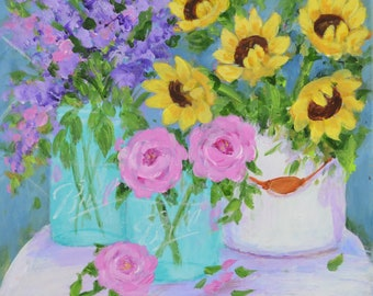 Ball Jar Flowers - Roses, Sunflowers, Lavender