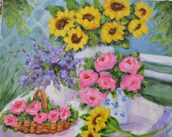 Garden Day 20x16 Pink Roses & Sunflowers