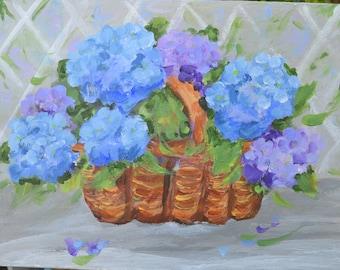 Charming blue Hydrangea painting