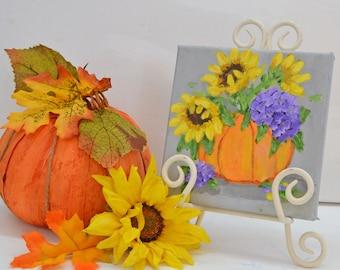 Fall decor Pumpkin Orange Pumpkin Flowers Harvest Harvest Decor Fall Art Original Art