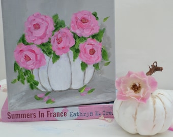 White Pumpkin Pink Roses Fall Decor Shaby Chic Roses Fall decoratin Pumpkin decor