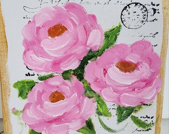 Bouquet of Roses - 6x6 Impressionist painting