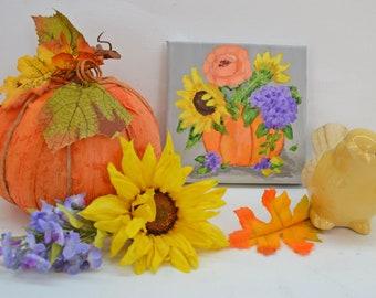 Pumpkin Art Harvest Fall Decor Orange flowers  autum art original art