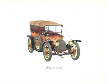 Vintage Color Car Print of a 1912 Fiat 0