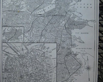Antique 1924 City Map of Boston Massachusrtts. FREE U.S. SHIPPING