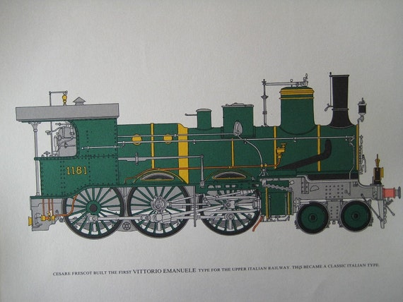 Large Double sided Train Print in color