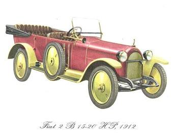 Vintage color Car Print of the 1912 Fiat