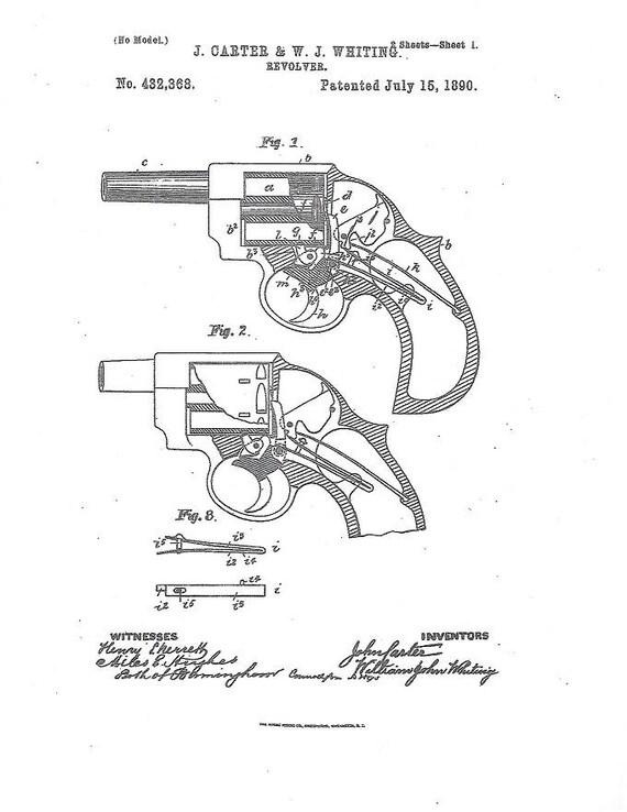 Gun Patent Print Free U S Shipping