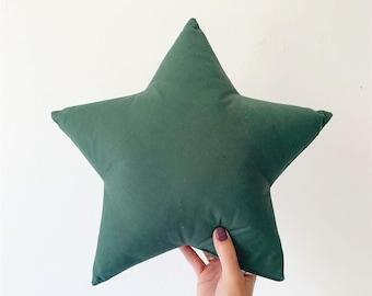 Dark Green Star Pillow, Woodland Nursery Decor, Star decorative pillows, Star pillow, Baby boy nursery decor, Neutral Nursery Decor,