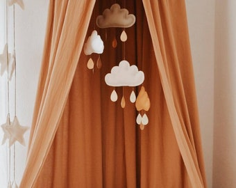 White and Ochre cloud mobile-Neutral gender nursery mobile-neutral baby gift- Ceiling Mobile-Baby mobile-scandi mobile-monochrome mobile-cot